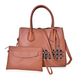 Cognac Faux Leather Laser Cut Tote on Standing Studs (13x5.5x10.5 in) with Matching Wristlet or Crossbody Bag (9x6 in)