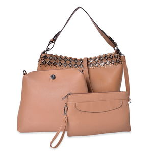 Dark Beige Faux Leather Tote Bag (11.6x5x11.3 in), Wristlet Bag (10.6x3.7x9.4 in) and Nylon Pouch Bag (9.4x5.6 in)