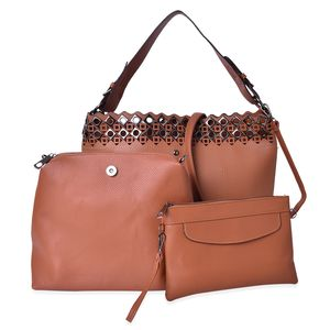 Brown Faux Leather Tote Bag (11.6x5x11.3 in), Wristlet Bag (10.6x3.7x9.4 in) and Nylon Pouch Bag (9.4x5.6 in)