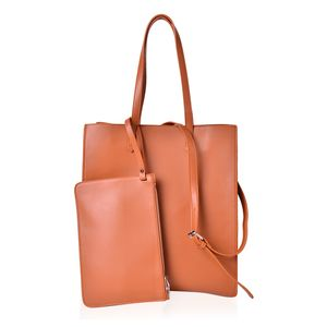 Pumpkin Faux Leather Tote (14x6x15 in) with Removable Shoulder Strap (42 in) and Matching Wristlet Clutch (10.5x7 in)