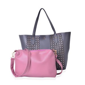 Gray Faux Leather Studded Handbag (18x4x13 in) and Mauve Pouch (12x2.5x9 in) with Removable Shoulder Strap (50 in)