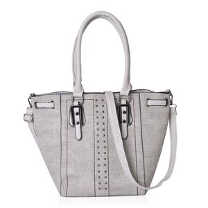 Grey Faux Leather Tote Bag (16.4x10x12.4 in)