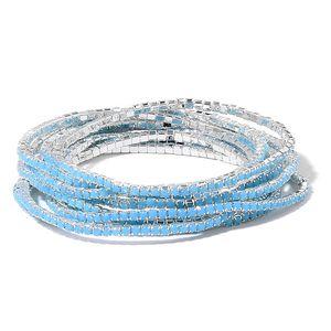 Set of 10 Sky Blue Chroma Silvertone Bracelets (Stretchable)