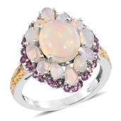 Ethiopian Welo Opal, Purple Garnet 14K YG and Platinum Over Sterling Silver Ring (Size 6.0) TGW 4.26 cts.