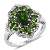 Russian Diopside, Cambodian Zircon Platinum Over Sterling Silver Ring (Size 10.0) TGW 4.64 cts.