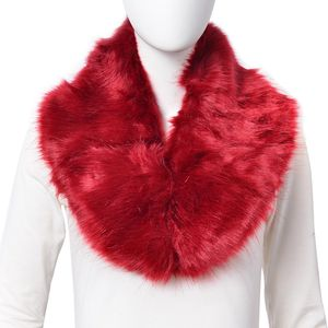 Red 100% Polyester Faux Fur Stole (36x7 in)
