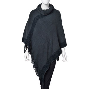 Forest Green 100% Acrylic Turtle Neck V-Shape Poncho with Fringes (One Size)