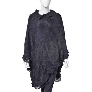 Black 100% Acrylic Triple Lace Turtleneck V-Shape Poncho (One Size)