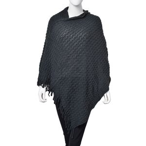 Spruce 100% Acrylic Wave Knitting Pattern V Neckline Poncho (35.43x31.49 in)