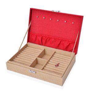 Red and Brown Linen Jewelry Box with Lock (11x7.5x2.6 in)