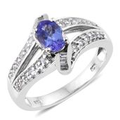 Premium AAA Tanzanite, White Topaz Platinum Over Sterling Silver Ring (Size 9.0) TGW 1.46 cts.
