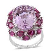 Rose De France Amethyst, Orissa Rhodolite Garnet, Cambodian Zircon Sterling Silver Ring (Size 7.0) TGW 14.25 cts.