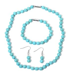 Blue Howlite Beads Stainless Steel Bracelet (7.50 in), Earrings and Necklace (18.00 In) TGW 258.50 cts.