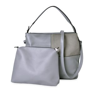 Gray Faux Leather Overlap Block Pattern Shoulder Bag with Standing Stud (13x5x11 in) and Matching Clutch Pouch with Removable Strap (10.5x1x7 in)