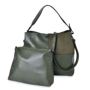 Green Faux Leather Overlap Block Pattern Shoulder Bag with Standing Stud (13x5x11 in) and Matching Clutch Pouch with Removable Strap (10.5x1x7 in)