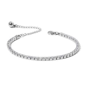 Simulated White Diamond Stainless Steel Tennis Bracelet (6.50-8.50In) TGW 15.00 cts.