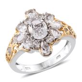 Petalite, White Topaz 14K YG and Platinum Over Sterling Silver Floral Ring (Size 7.0) TGW 2.72 cts.