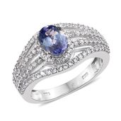 Peacock Tanzanite (2A), Cambodian Zircon Platinum Over Sterling Silver Ring (Size 7.0) TGW 2.40 cts.