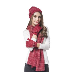Wine Red 80% Acrylic and 20% Polyester Scarf (13.78x78.74), Hat (8.67x8.67 in) and Glove Pair (4.73x7.88 in)
