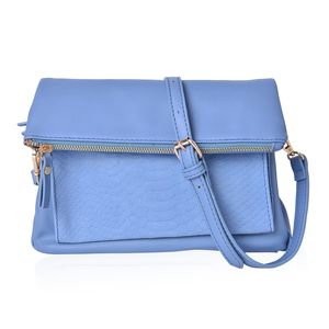Baby Blue Faux Leather Fold Over Clutch or Crossbody Bag (10x1x10 in) with Removable Shoulder Strap (44in)