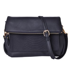 Black Faux Leather Fold Over Clutch or Crossbody Bag with Removable Shoulder Strap (44in) (10x1x10 in)