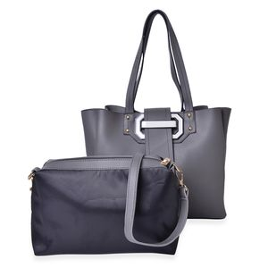 Gray and Black Faux Leather Buckle Tote Bag with Standing Studs (12x4.75x11 in) and Matching Crossbody Pouch with Removable Strap (11x3x7 in)