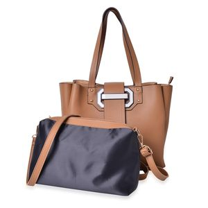Light Brown and Black Faux Leather Buckle Tote Bag with Standing Studs (12x4.75x11 in) and Matching Crossbody Pouch with Removable Strap (11x3x7 in)
