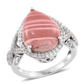 Australian Pink Opal, Cambodian Zircon Platinum Over Sterling Silver Ring (Size 7.0) TGW 7.35 cts.