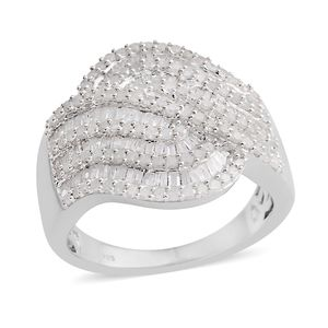 Diamond Platinum Over Sterling Silver Ring (Size 9.0) TDiaWt 1.50 cts, TGW 1.50 cts.