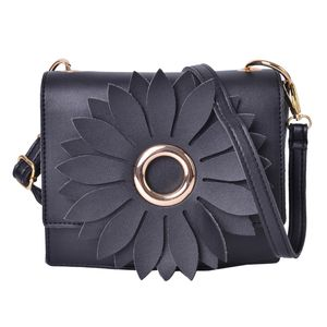 Black 3D Flower Faux Leather Clutch Bag with Removable Crossbody Strap (7.5x2.5x6.5 in)