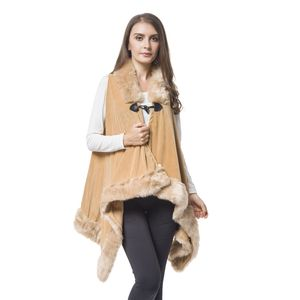 Camel 100% Polyester Vest with Faux Fur Collor & Bottom (One Size)