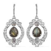 Malagasy Labradorite Platinum Over Sterling Silver Lever Back Earrings TGW 7.05 cts.