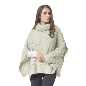 Pistachio 100% Acrylic  Knitted Turtleneck Poncho (One Size)