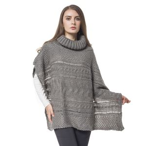Gray 100% Acrylic  Knitted Turtleneck Poncho (One Size)