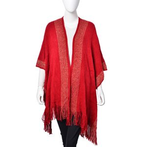 Red with Golden Rope 80% Acrylic & 20% Polyester Kimono with Sleeves (31.5x37.41 in)