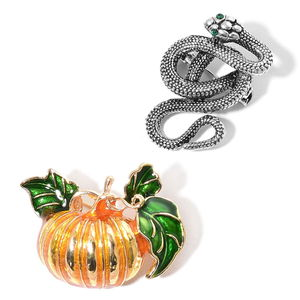 Halloween Green Austrian Crystal, Enameled Doultone Set of 2 Snake and Pumpkin Brooch