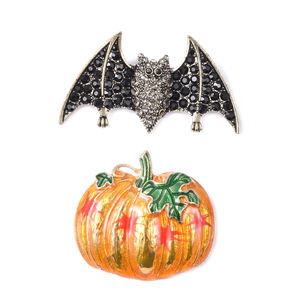 Halloween Black and Grey Austrian Crystal, Enameled Black Silvertone Set of 2 Bat and Pumpkin Brooch