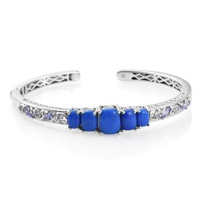 Ceruleite, Tanzanite Platinum Over Sterling Silver Cuff (7.25 in) TGW 9.53 cts.