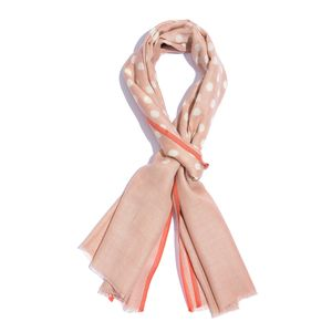 Pink Polka Dot Pattern 90% Merino and 10% Silk Scarf (20x72 in)