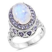 Dan's 25th Anniversary Collection Sri Lankan Rainbow Moonstone, Tanzanite Platinum Over Sterling Silver Halo Ring (Size 9.0) TGW 11.15 cts.
