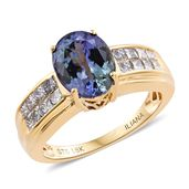 Ankur's Treasure Chest ILIANA 18K YG Premium AAA Peacock Tanzanite, Diamond Ring (Size 7.0) TDiaWt 0.70 cts, TGW 3.40 cts.