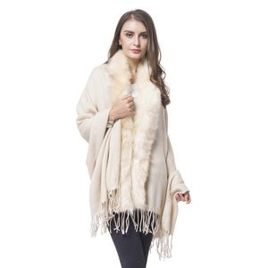 Beige 100% Polyester Shawl with Fringes and Faux Fur Trim (68x32 in)