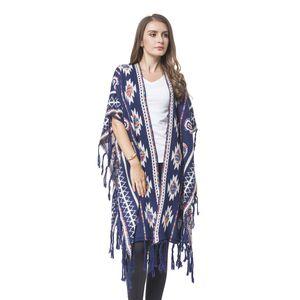 Navy Santa Fe Pattern Blanket Wrap
