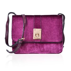 Plum Velvet and Faux Leather Flap Over Crossbody Bag (9x2x6.5 in)