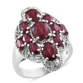 Niassa Ruby Platinum Over Sterling Silver Ring (Size 7.0) TGW 6.33 cts.