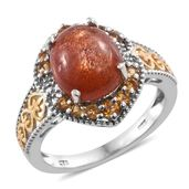 Sri Lankan Sunstone, Brazilian Citrine 14K YG and Platinum Over Sterling Silver Ring (Size 7.0) TGW 5.75 cts.