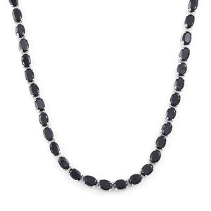 Thai Black Spinel Sterling Silver Tennis Necklace with Open Box Clasp (18 in) TGW 39.00 cts.