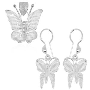 Bali Legacy Collection Sterling Silver Earrings and Butterfly Pendant without Chain (4.3 g)