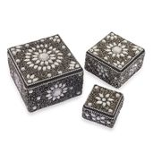 Set of 3 Black Beaded Bling Nesting Storage Boxes (4x2.5-2x1 in)
