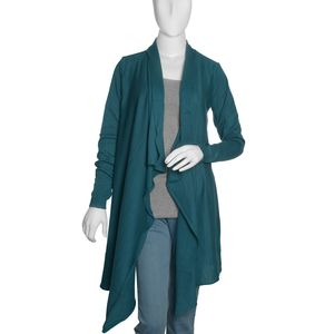 Teal 100% Cotton Long Sleeve Open Waterfall Cardigan (X/XL)